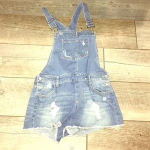 Blue jean overalls with shorts
